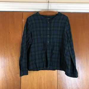 Madewell Navy & Green Plaid Button-front Crop Top